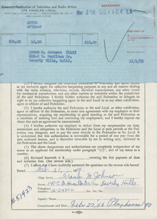 FRANKIE DARRO - DOCUMENT SIGNED 02/21/1958