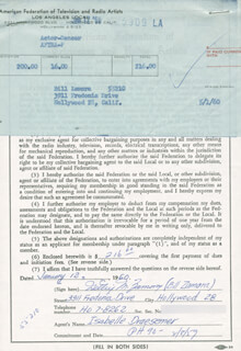 BILL ZAMORA - DOCUMENT SIGNED 01/13/1960