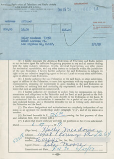 HOLLY MEADOWS - DOCUMENT SIGNED 06/27/1957