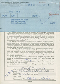 JACK TORNEK - DOCUMENT SIGNED CIRCA 1957