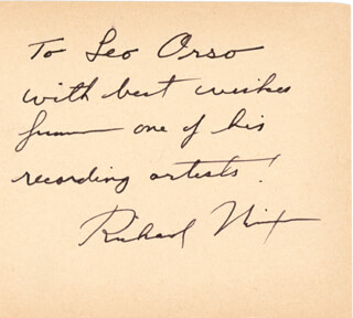 PRESIDENT RICHARD M. NIXON - INSCRIBED SIGNATURE