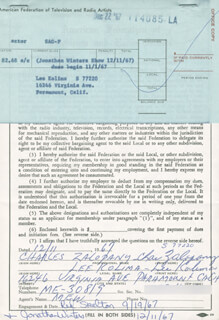 LEE KOLIMA - DOCUMENT DOUBLE SIGNED 12/11/1967