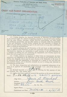GLORIA S. MARSHALL - DOCUMENT SIGNED 09/26/1956