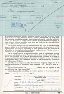 MARK HARRIS - DOCUMENT SIGNED 10/07/1963
