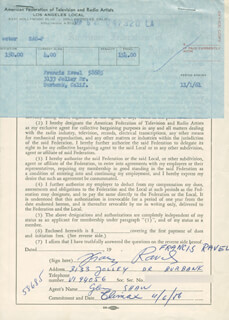 FRANCIS RAVEL - DOCUMENT DOUBLE SIGNED 09/05/1961