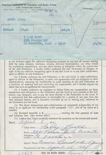 BILLY BOOTH - DOCUMENT SIGNED BY A DEPUTY 04/08/1960