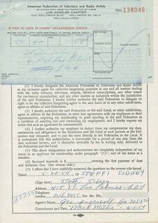 STEFFI SIDNEY - DOCUMENT SIGNED 05/28/1954