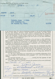 VICTORIA JAMES - DOCUMENT SIGNED 03/15/1960