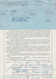 JEAN BABE LONDON - DOCUMENT SIGNED 06/02/1955