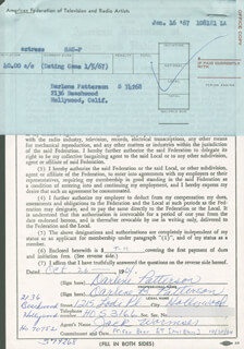 DARLENE PATTERSON - DOCUMENT DOUBLE SIGNED 10/26/1964