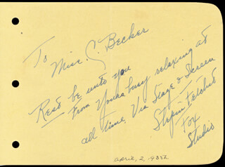 Autographs: STEPIN FETCHIT - AUTOGRAPH NOTE SIGNED 04/02/1935