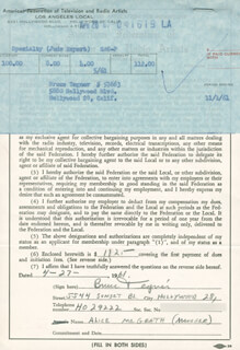 BRUCE TEGNER - DOCUMENT SIGNED 04/27/1961