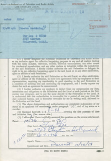 GUY LEE - DOCUMENT SIGNED 10/26/1958