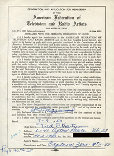 FRED C. HARTMAN - DOCUMENT SIGNED 07/09/1953