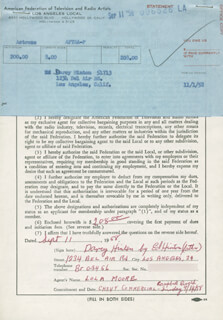 EDWARD HINTON - DOCUMENT SIGNED 09/11/1958 CO-SIGNED BY: DARCY HINTON