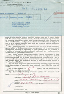 SULL LAWRENCE - DOCUMENT SIGNED 11/14/1960