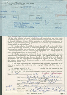 VICTORIA LOUGHRAN - DOCUMENT DOUBLE SIGNED 03/02/1962