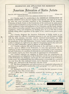 DORIS RICH - DOCUMENT SIGNED 10/14/1949