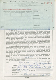 JACQUELINE LEE - DOCUMENT SIGNED 02/12/1954