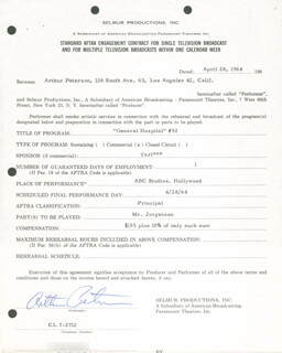 ARTHUR PETERSON - CONTRACT SIGNED 04/28/1964