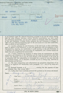 CAROLE KENT - DOCUMENT SIGNED 08/12/1960