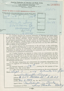 TONI GERRY - DOCUMENT SIGNED 09/07/1954