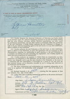LILLIAN LILIAN HAMILTON - DOCUMENT SIGNED 11/21/1955