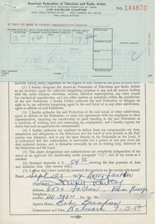 HARRY LAUTER - DOCUMENT SIGNED 09/10/1954