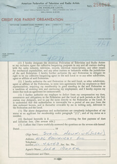 SUSAN SUSIE HAWKINS - DOCUMENT SIGNED 02/01/1957