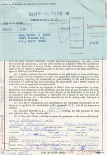GALE WARREN - DOCUMENT DOUBLE SIGNED 12/06/1965