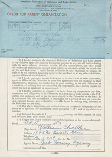 WILLIAM CHALLEE - DOCUMENT SIGNED 02/15/1957
