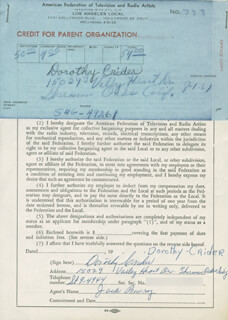 DOROTHY CRIDER - DOCUMENT SIGNED 08/01/1957