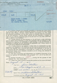 SPEER MARTIN - DOCUMENT SIGNED 08/18/1958