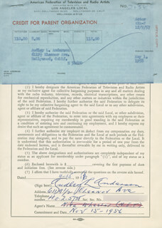 AUDLEY ANDERSON - DOCUMENT SIGNED 11/15/1956