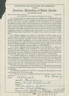 TED AVERY - DOCUMENT SIGNED 10/23/1950