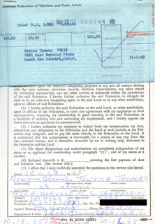 TOWYNA THOMAS - DOCUMENT SIGNED 10/13/1965