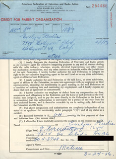 EVELYN RUDIE - DOCUMENT SIGNED 03/24/1956