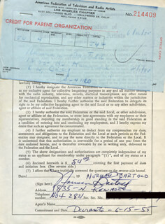 NORMAN BARTOLD - DOCUMENT SIGNED CIRCA 1955