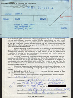 GLORIA J. WALL - DOCUMENT SIGNED 05/16/1960