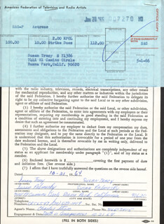 SUSAN TRACY - DOCUMENT DOUBLE SIGNED 10/21/1964