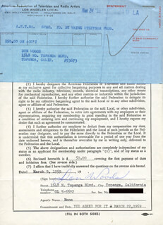 DON WOODS - DOCUMENT SIGNED 03/09/1959