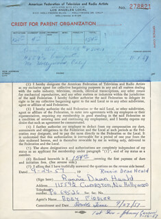 RONNIE DEAN HEALD - DOCUMENT SIGNED 09/24/1957