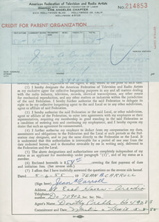 JEAN CARROLL - DOCUMENT SIGNED 05/06/1955