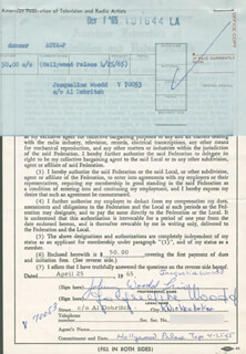 JACQUELINE WOODD - DOCUMENT SIGNED 04/25/1965