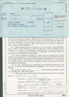 HAROLD WALKER - DOCUMENT DOUBLE SIGNED 01/16/1964