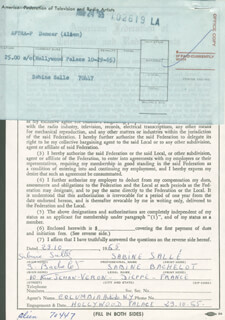 SABINE SALLE - DOCUMENT SIGNED 10/29/1965