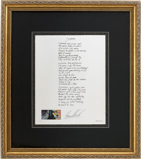 DAVID CROSBY - PRINTED LYRICS SIGNED IN INK