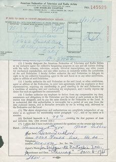 JOAN SUDLOW - DOCUMENT SIGNED 01/05/1955