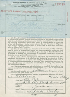 SPADE COOLEY - DOCUMENT SIGNED 08/12/1955