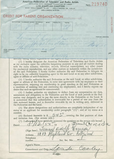 Autographs: SPADE COOLEY - DOCUMENT SIGNED 08/12/1955